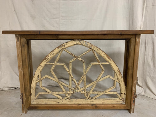Console made from French Church Window 1890's Transom