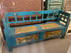 Hand Painted Storage Bench