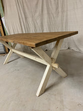 Load image into Gallery viewer, Pine Farmhouse Table with X-Stretcher Base