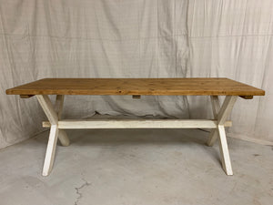 Pine Farmhouse Table with X-Stretcher Base
