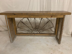 Iron Console made from 1880's French Iron Transom
