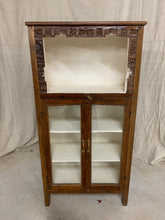 Load image into Gallery viewer, Small Teak Glass Front Cabinet with White inside