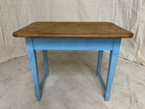 Pine Side Table with Blue Painted Base