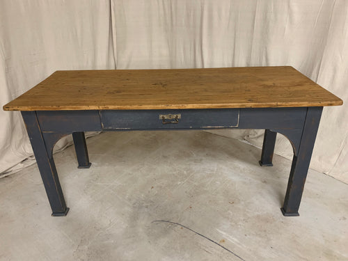 Pine Desk with Blue Painted Base