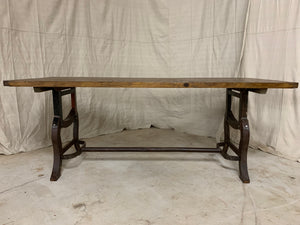 Pine Dining Table with Industrial Base