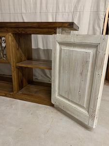 Console/Cabinet made with French Doors and Iron