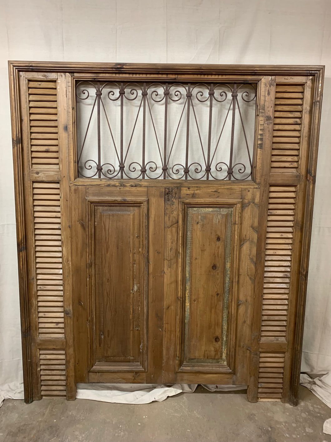 Queen Headboard- French Iron, doors & Shutters