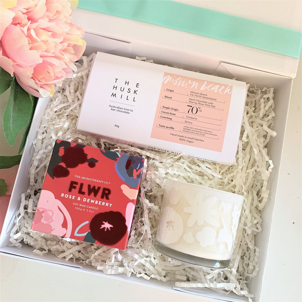 FLWR candle and Chocolate gift box suitable for women.