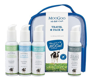 Bottles of Moo Goo products suitable for travel or overnight stays.