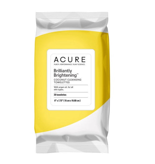 Acure - Brilliantly Brightening Coconut Cleansing Towelettes + Argan Oil - 30 pack,  suitable for sensitive and normal skin types for Wishing you Well gift boxes and care packages.