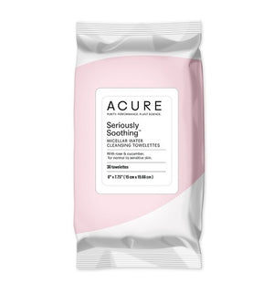 Acure cleansing towelettes - 30 pack,  with rose & cucumber, for normal to sensitive skin for Wishing you Well gift boxes and care packages.