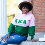 AKA Pink and Green Color Block Sweater