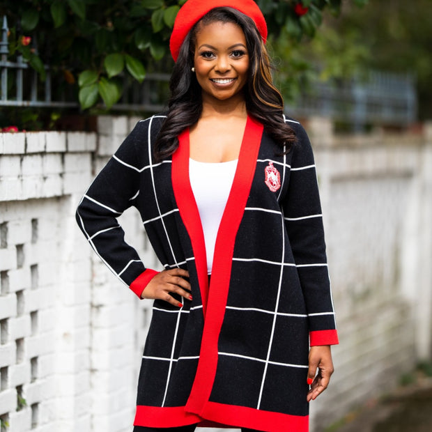 Red and Black Checkered Cardigan