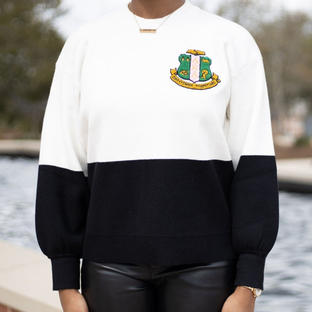 AKA Black And White Color Block Sweater