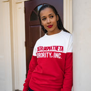 White and Red Vintage Color Block Sweatshirt