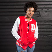 Red and White Vintage Varsity Jacket