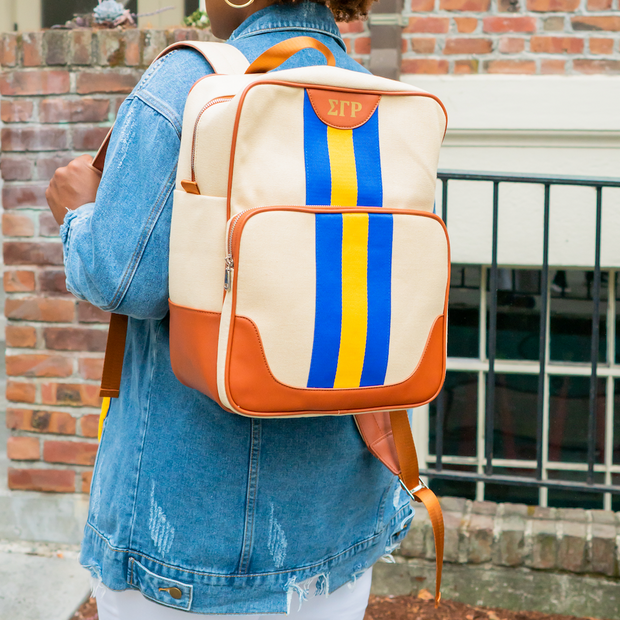 Royal Blue and Gold Canvas Back Pack
