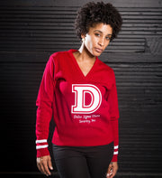 Red Vintage Varsity Sweater