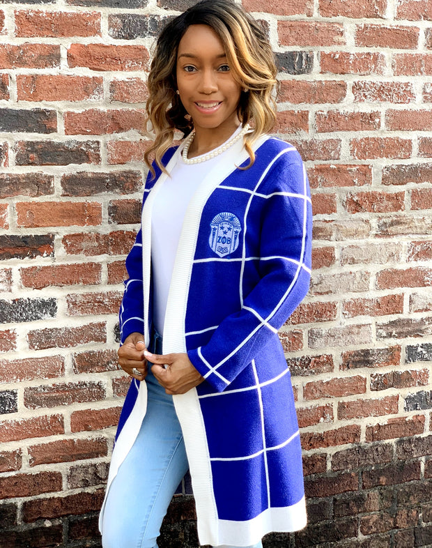 Blue and White Checkered Cardigan