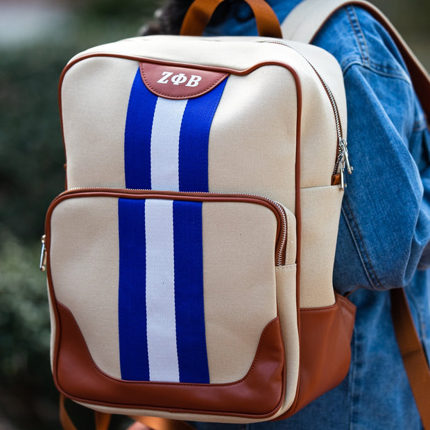Blue and White Canvas Back Pack