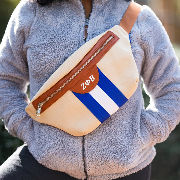 Royal Blue and White Canvas Belt Bag