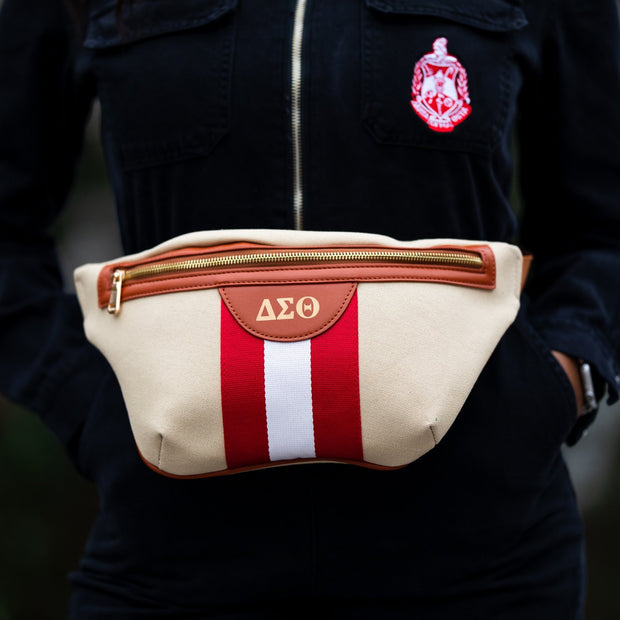 Red And White Canvas Belt Bag