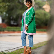 Pink and Green Checkered Cardigan