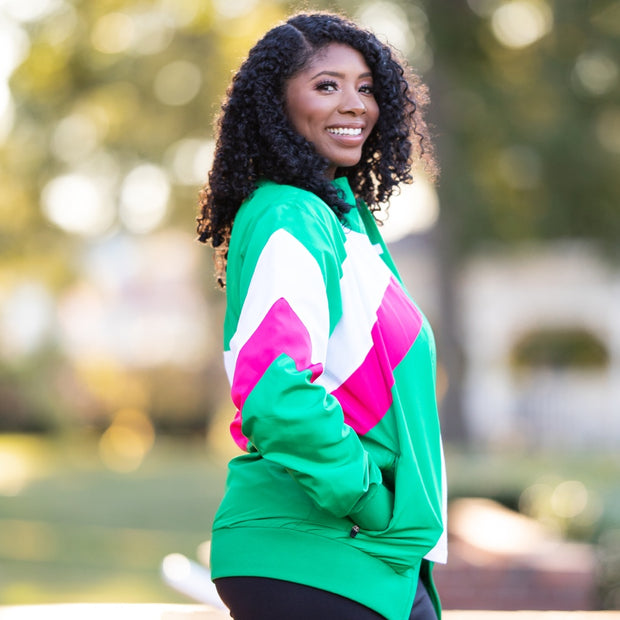 Pink and Green Retro Windbreaker