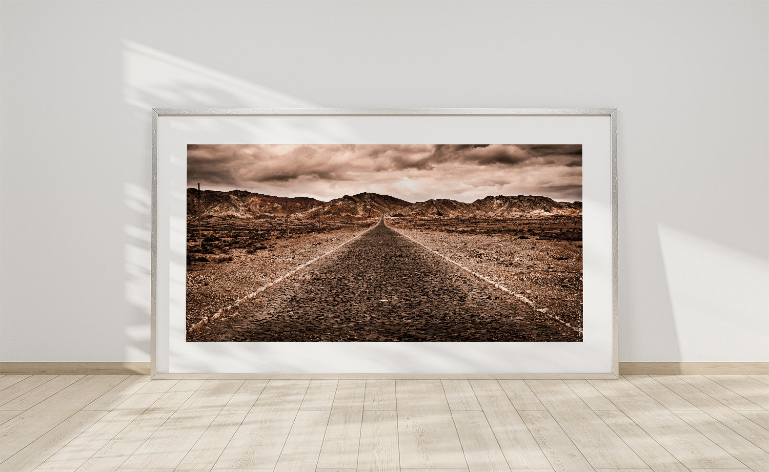 Print of a road in the Viana desert of Boa Vista, Cape Verde