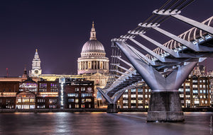 The millennium bridge leads to the City of London school in front of the St Paul's cathedral
