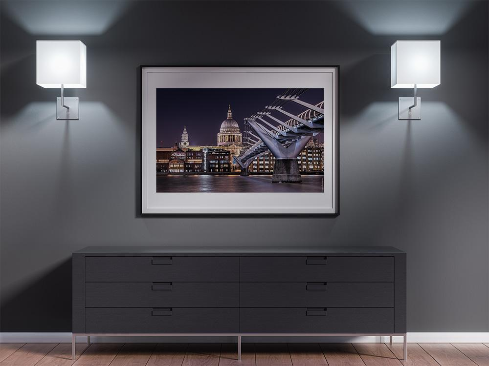 A print of the millennium bridge and the St Paul's cathedral