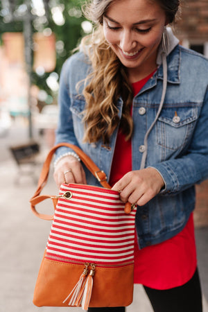 Picnic Days Crossbody Bag In Cherry Red Color