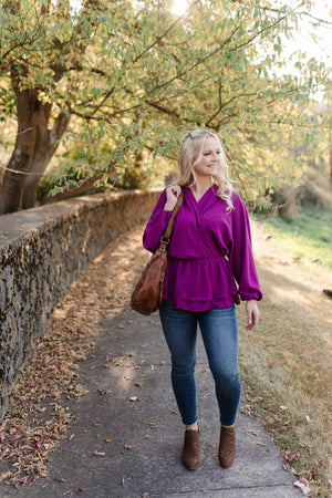 What A Gem Blouse In Dark Orchid