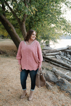 Seasons Of Change In Dusty Pink Dolman Sweater