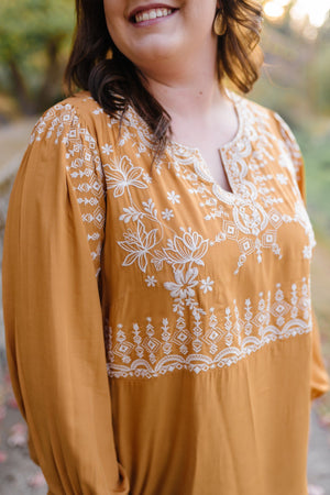 Threads Of Autumn Top In Marigold