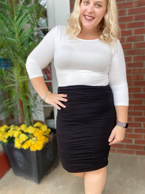 Black Shirred Pencil Skirt
