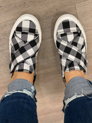 Gypsy Jazz Plaid Along Tennis Shoes in White