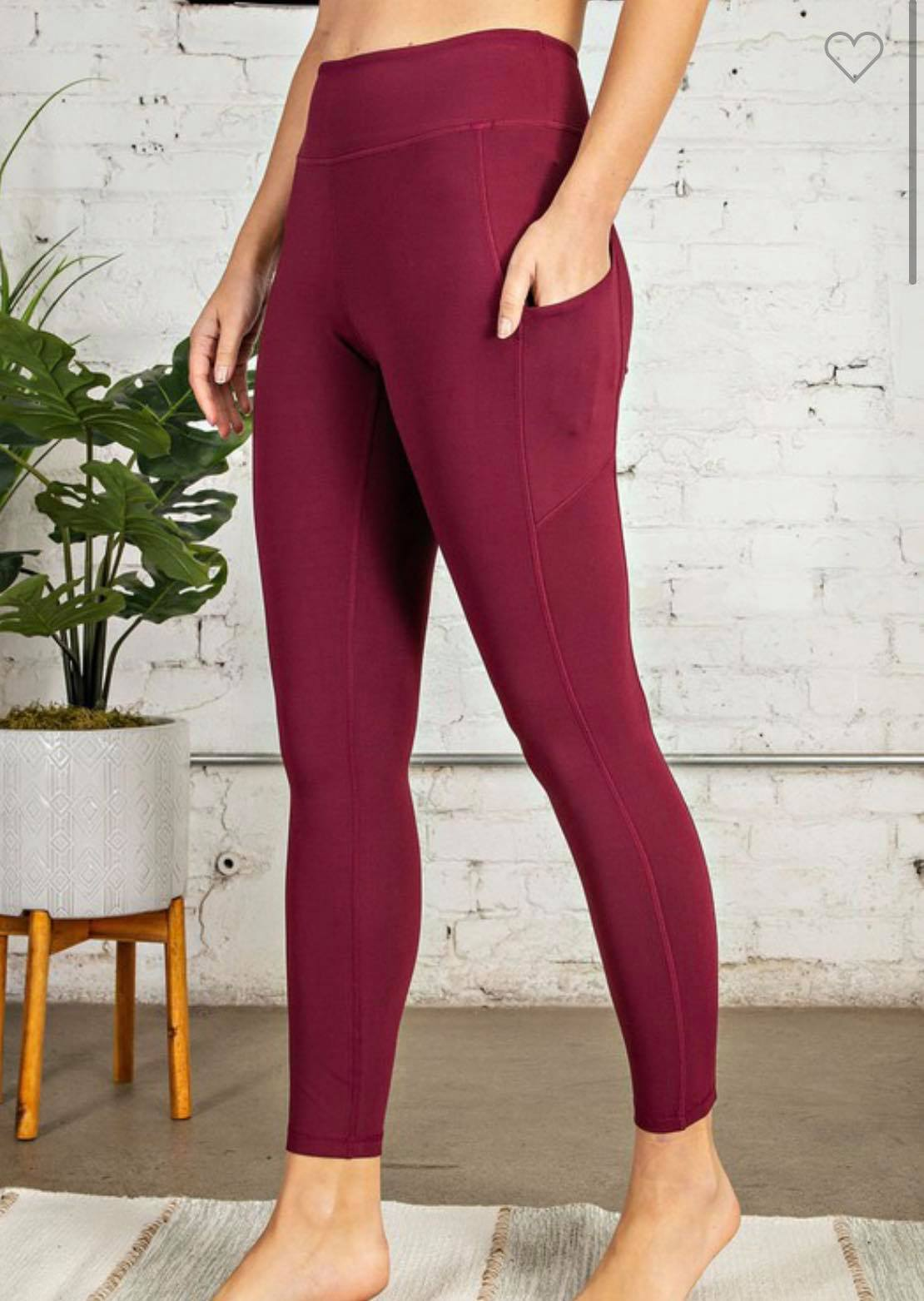 Burgundy Buttery Soft Leggings with Pockets