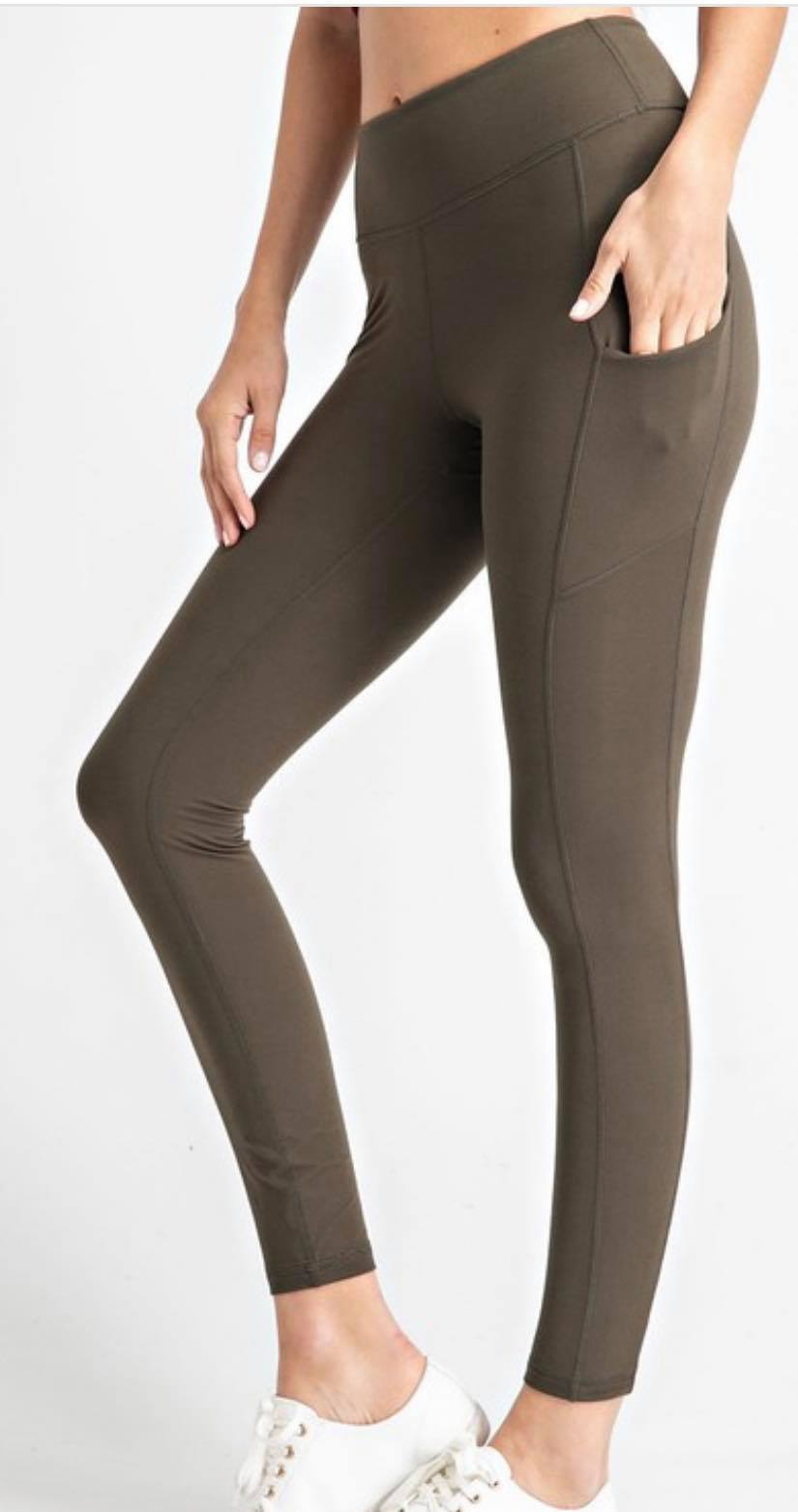Olive Buttery Soft Leggings with Pockets