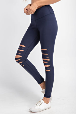 Navy Laser Cut Buttery Soft Leggings