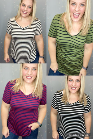 Striped in Heaven V-Neck Tee