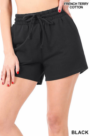 French Terry Drawstring Waist Shorts in Black and Charcoal