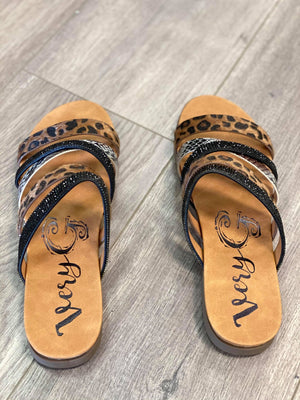 Very G Gingerly Sandals in Tan Leopard