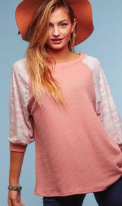 Gotta Move On Pink Camo Knit Top