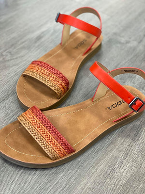 Red Braided Sandals