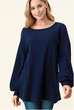 Load image into Gallery viewer, Navy Waffle Knit Open Back Top