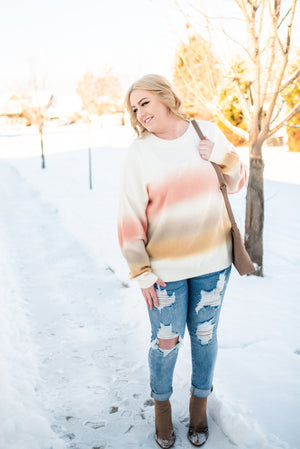 Double Dipped Sweater in Coral