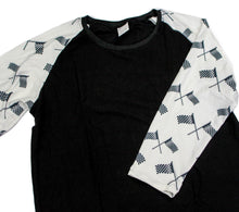 Load image into Gallery viewer, Whimsies brand checkered flag raglan
