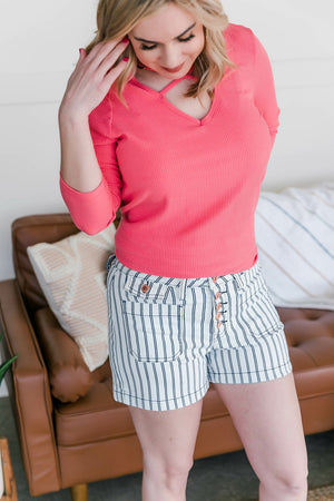 All Aboard Judy Blue Striped Shorts