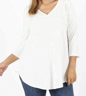 Subtle & Sweet 3/4 Sleeve Top in Ivory